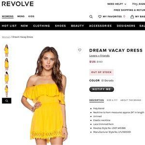 Lovers + Friends Dresses - LOVERS + FRIENDS DREAM VACAY DRESS NWT